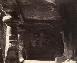 View of a Shiva image, Elephanta, Bombay